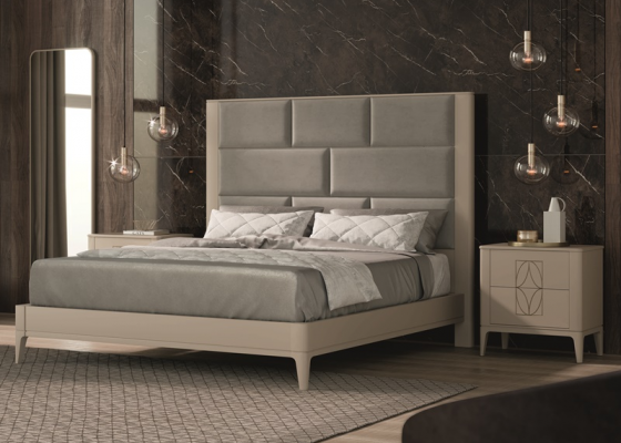 Lacquered and upholstered bedroom. Mod. OLIVIA