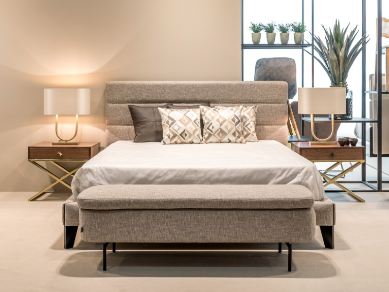 Design upholstered bedroom with bed frame. Mod. FLAVIA