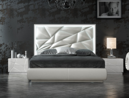 Upholstered and lacquered bedroom with led lighting and bed storage .Mod: NAUGE LED