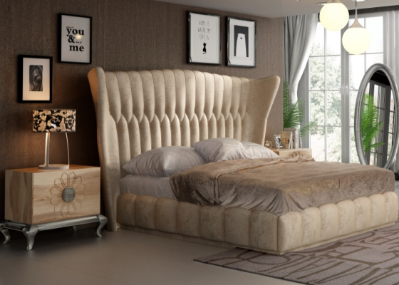 Oak and upholstered bedroom. Mod. NOEMI