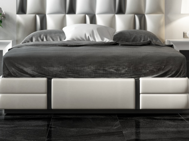 Lacquered and uphostered bedroom. Mod. MELINA