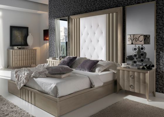 Lacquered and upholstered bedroom. Mod. LOYRA CHAMPAGNE