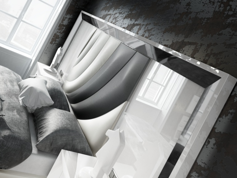 Lacquered and upholstered bedroom with XXL headboard. Mod. MELIA