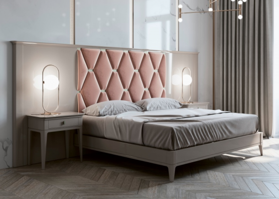 Lacquered and upholstered bedroom with large headboard.Mod: DIMA
