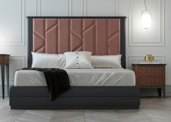 Design bedroom upholstered in velvet with lacquered bed frame.Mod: REEM