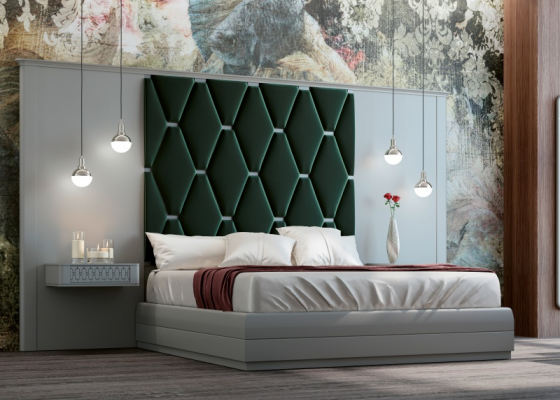 Lacquered and upholstered bedroom with XXL headboard. Mod.JALA