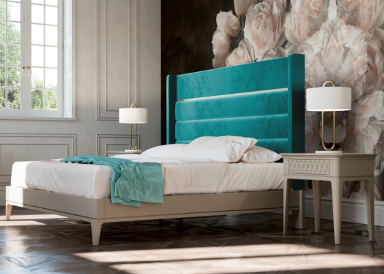 Design bedroom upholstered in velvet with lacquered bed frame.Mod: JASMINE