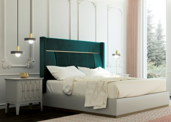 Design bedroom upholstered in velvet with lacquered bed frame.Mod: ALYA
