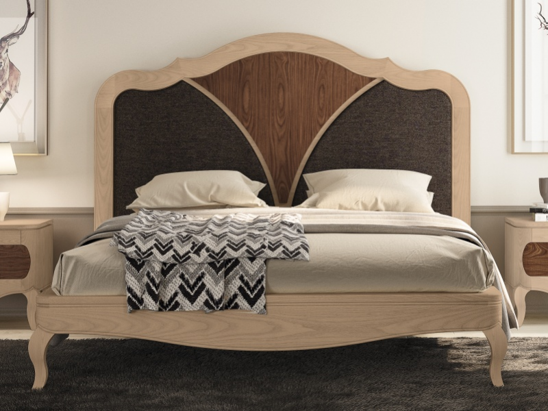 Bedroom with bed in walnut wood and upholstered parts. Mod: RAFFAELA