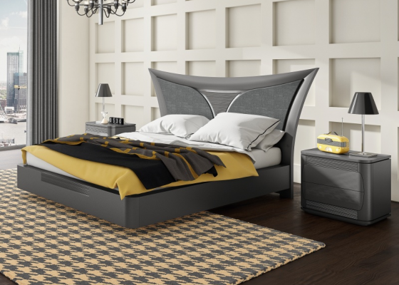 Bedroom with lacquered and upholstered bed .Mod:ARIANNA PL