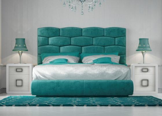 Design bedroom upholstered  with upholstered bed frame.Mod: KAELA