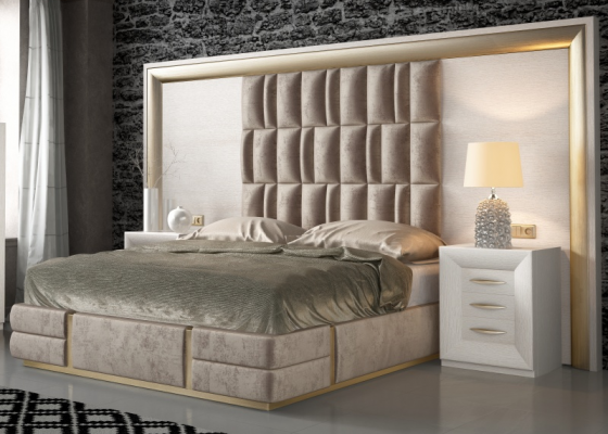 Oak , lacquered and upholstered bedroom. Mod. SIMA