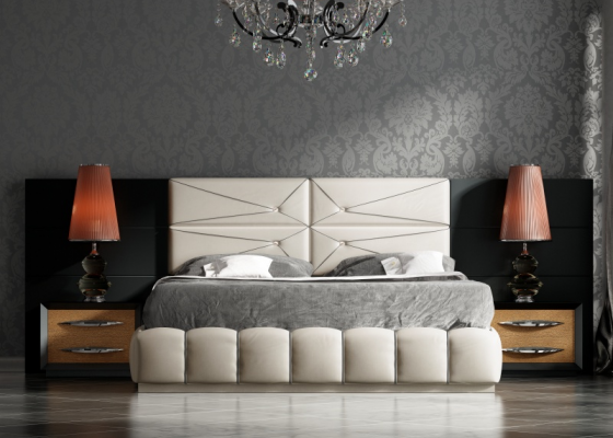 Lacquered and upholstered bedroom with large headboard.Mod: BASIMA