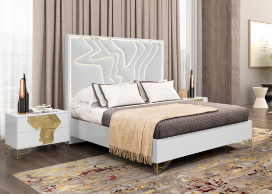 Lacquered and upholstered bedroom. Mod: TERRA
