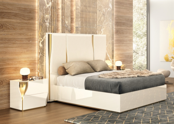 Lacquered and upholstered bedroom. Mod: ESSENCE