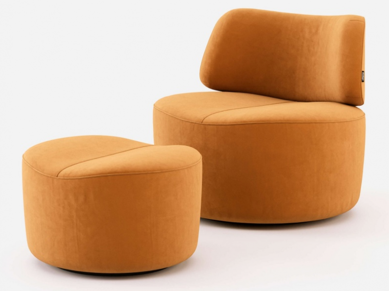 Set of upohlstered armchair and pouf in velvet. Mod. JOLIE