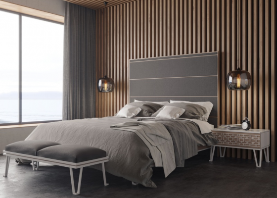 Design and upholstered bedroom.Mod: POSITANO