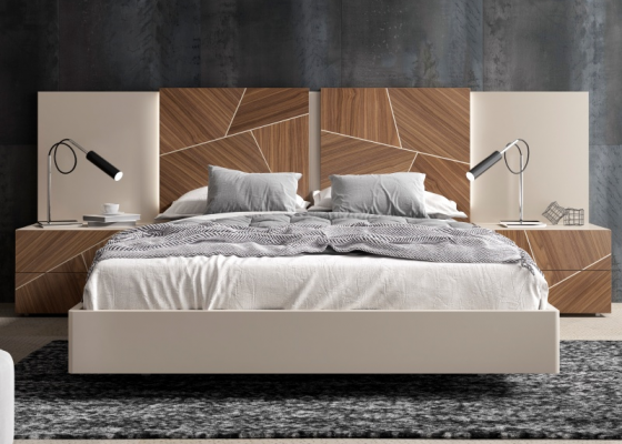 Lacquered bedroom with American walnut wood central panels and led lighting.Mod: LUCILE