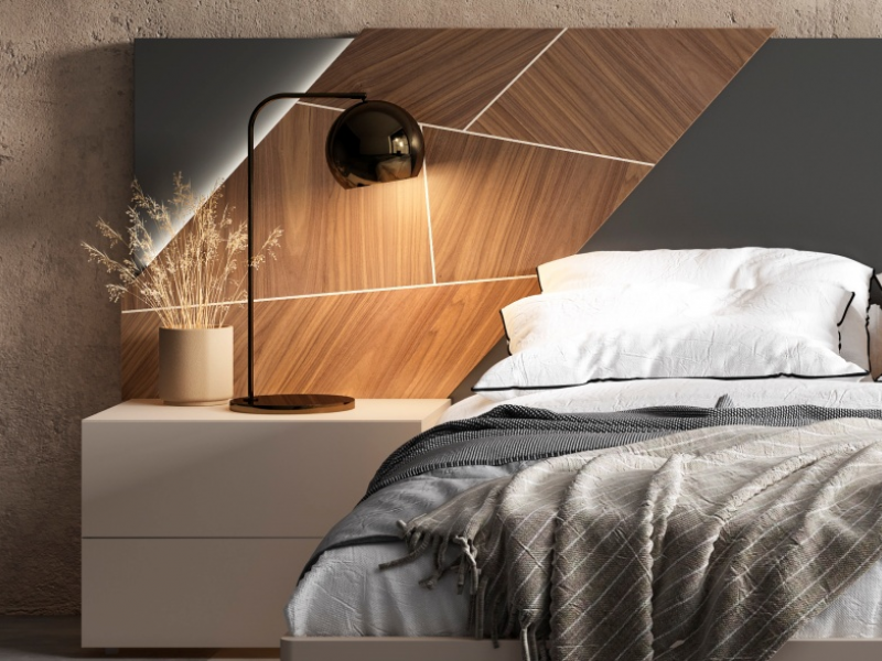Lacquered bedroom with oak wood central panels and led lighting.Mod: LILOU