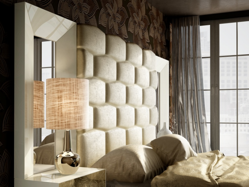 XXL lacquered and upholstered bedroom. Mod. JANAAN