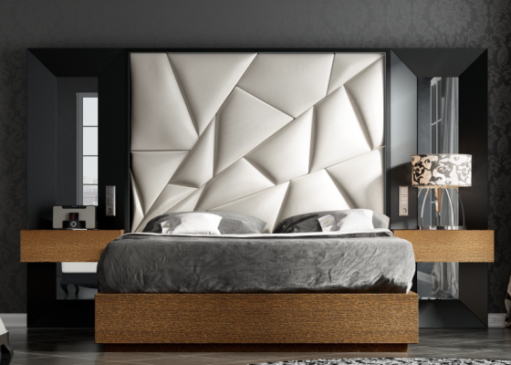 Upholstered and lacquered design bedroom .Mod: TAHIRA