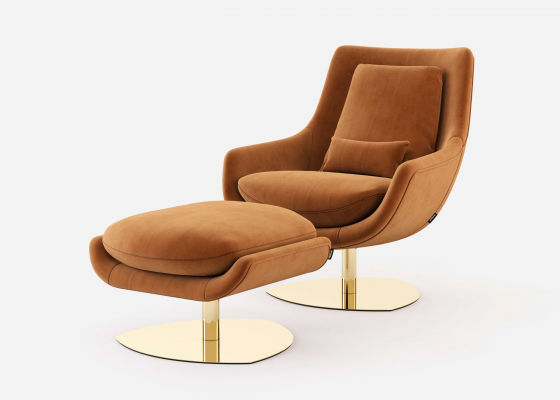 Set of swivel and relax armchair and pouf. Mod: TELVA