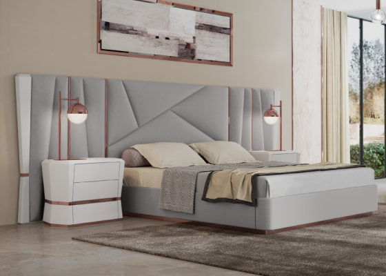 Upholstered and lacquered design bedroom .Mod: AFSANA