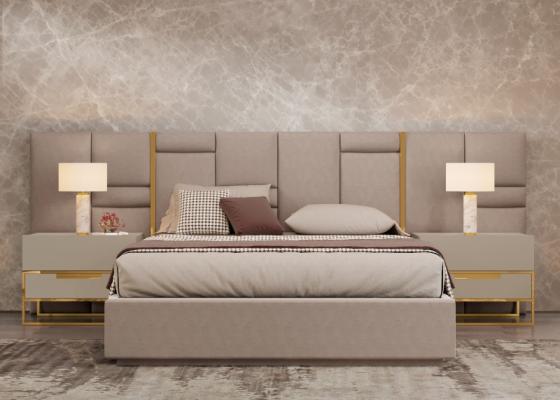 Upholstered design bedroom with stainless steel details.Mod: ABIR