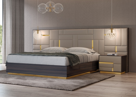 Design bedroom in ebony wood with upholstered headboard and stainless steel details. Mod. SALMA