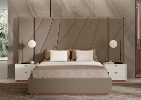 XXL upholstered design bedroom with wood ebony headboard. Mod. HIBA