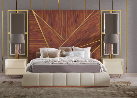 XXL upholstered design bedroom with wood headboard with stainless steel details and side mirrors. Mod. ZURAH