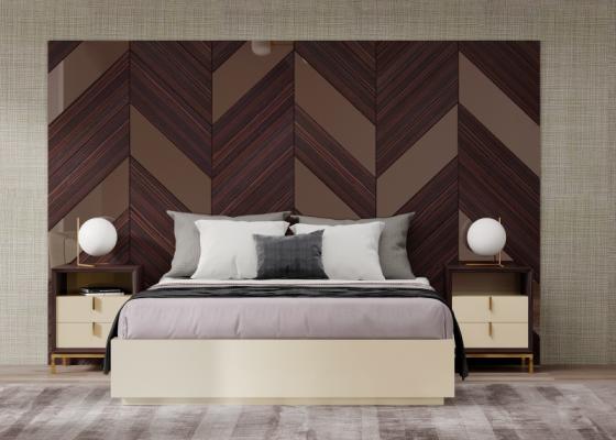 XXL design bedroom in ebony wood and bronze mirrors. Mod. YASSIRA