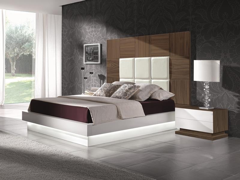 Chambre en noyer avec t te de lit garnie mod tamara for Chambre garnie