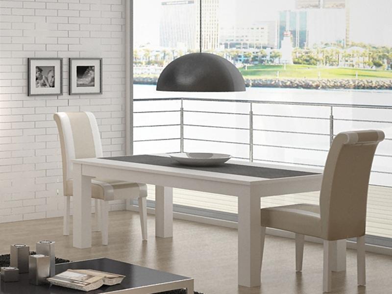 Table manger laqu e blanc extensible et plateau en bois for Table extensible blanc et bois