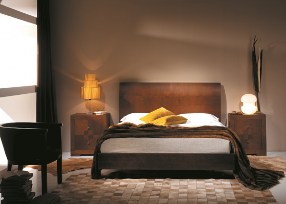 lit pour t te de lit courb e en bois de ch ne avec placage naturel pope. Black Bedroom Furniture Sets. Home Design Ideas