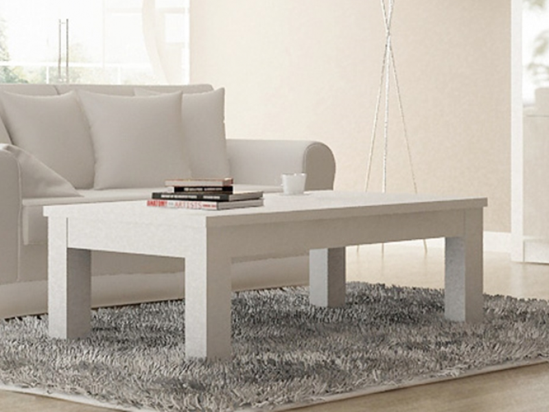 table basse rectangulaire laqu e en blanc mod terzo. Black Bedroom Furniture Sets. Home Design Ideas