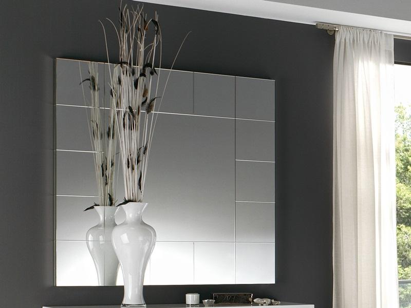 Miroir de commode carr encadrement laqu noir ou blanc for Miroir encadrement noir