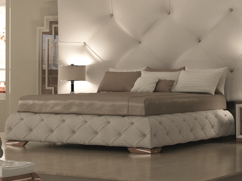 base de lit tapiss e en tissu synth tique en blanc avec capitonn et boutons pour literie en. Black Bedroom Furniture Sets. Home Design Ideas