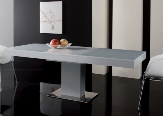 Table manger extensible avec plateau de verre base et for Pied table a manger