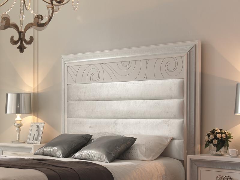t te de lit avec rainures circulaires laqu blanc 228 et d tails en feuille d 39 argent 283. Black Bedroom Furniture Sets. Home Design Ideas