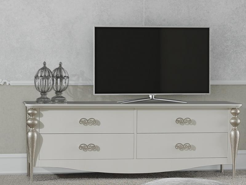 Meuble tv avec 4 tiroirs pieds en bois tourn laqu en - Meuble tv avec pied ...