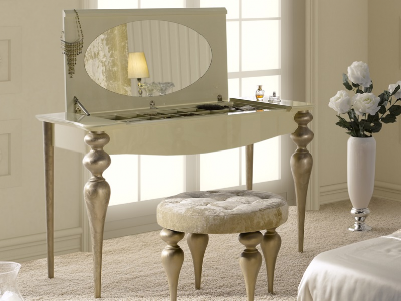 coiffeuse avec miroir et compartiment bijoux mod pa9615. Black Bedroom Furniture Sets. Home Design Ideas