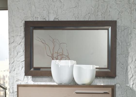 Miroir avec encadrement en bois avec profil m tallique for Miroir encadrement bois