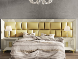 Lacquered and upholstered large headboard. Mod. KOR 54177
