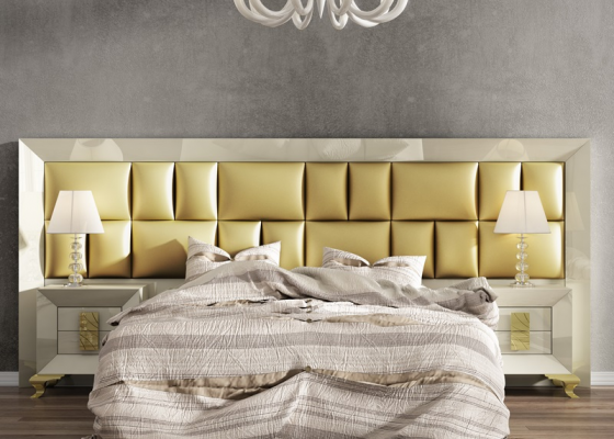 Lacquered and upholstered large headboard. Mod. AMELIE