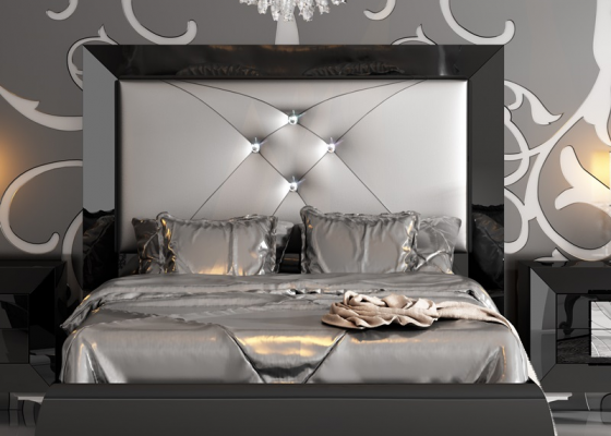 Lacquered  and upholstered headboard. Mod. LOANA