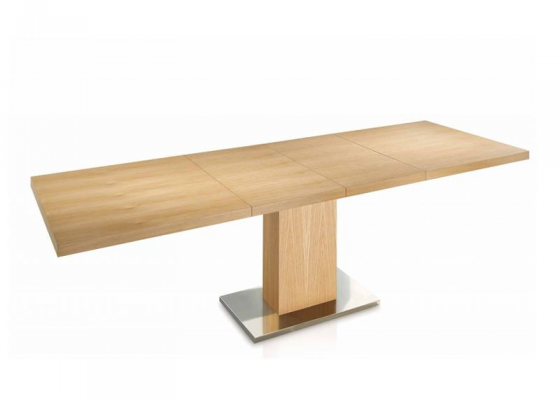 Extensible dining table with wood top. Mod. ESMERALD MADERA