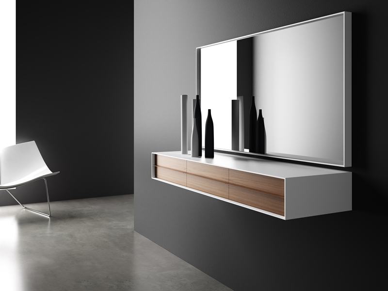 ensemble console et miroir mod tandem. Black Bedroom Furniture Sets. Home Design Ideas