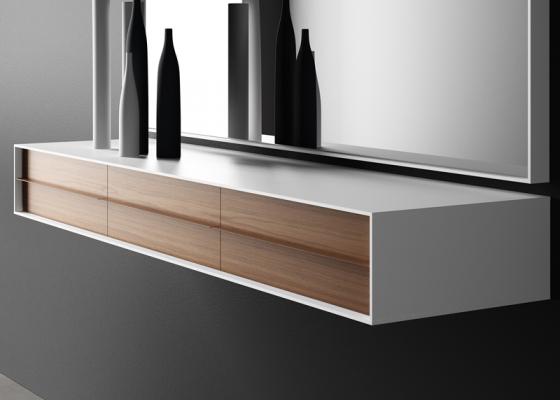 console suspendre au mur avec 1 2 ou 3 tiroirs en. Black Bedroom Furniture Sets. Home Design Ideas