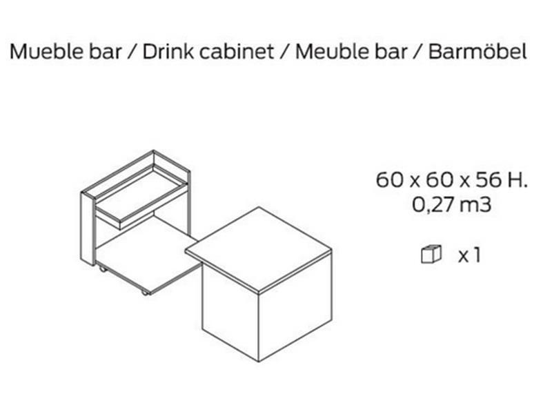Auxiliary bar cabinet table. Mod.  JB